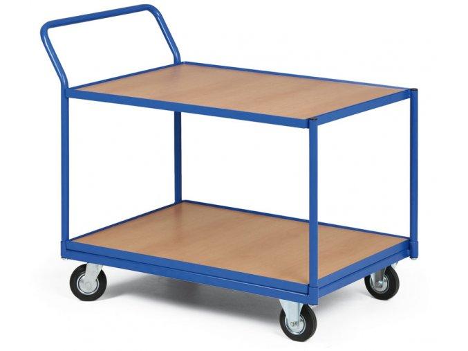 Policový vozík, dve poschodia drevotrieska v ráme, 300 kg