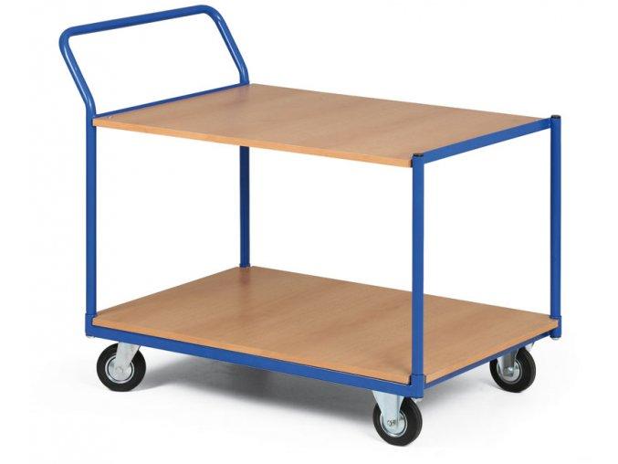 Policový vozík, dve poschodia z drevotriesky, 300 kg