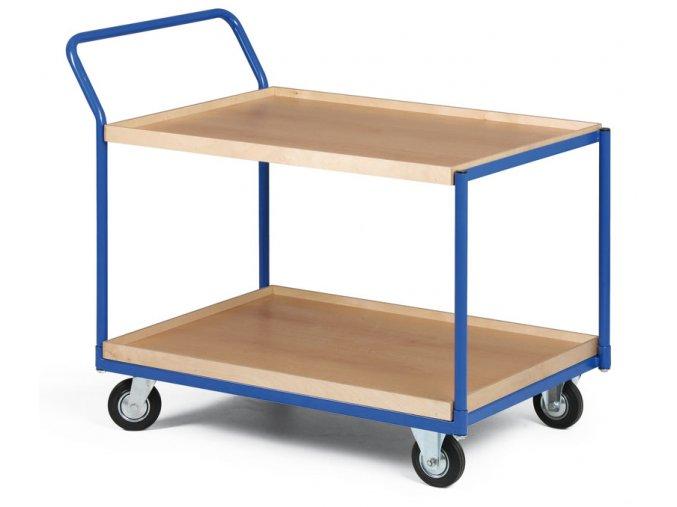 Policový vozík, dve poschodia z ohranenej drevotriesky, 300 kg