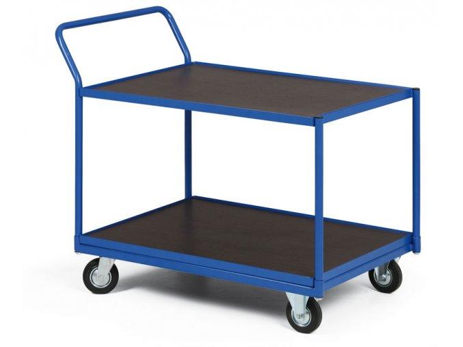 Policový vozík, dve poschodia z vodovzdornej preglejky, 400 kg