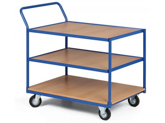 Policový vozík, tri poschodia drevotrieska v ráme, 200 kg