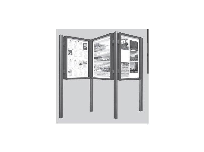 Súprava stĺpikov k vitrínam hĺbky 75 mm a výšky 1350 mm