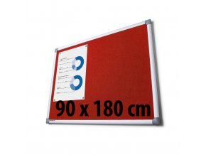 Tabule textilné, 90 x 180 cm, červená