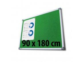 Tabule textilné, 90 x 180 cm, zelená