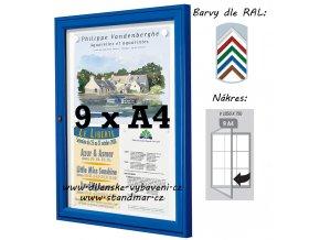 Vonkajšia vitrína 1 050 × 750 mm, hĺbka 30 mm (farba)