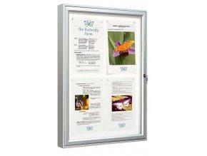 Vonkajšia vitrína 750 × 550 mm, (bezpeč. Sklo) hĺbka 58 mm, 4xA4