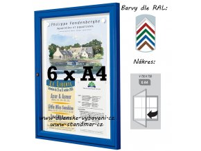 Vonkajšia vitrína 750 × 750 mm, hĺbka 30 mm (farba)