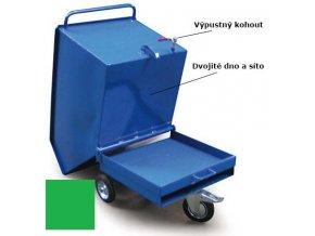 Výklopný vozík na špony, triesky 250 litrov, var.s kohútom, zelený