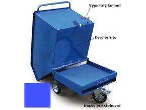 Výklopný vozík na špony, triesky 250 litrov, s kapsami pre vysokozdvižné vozíky, dvojitým dnom, sítom, výpustným kohútom,modrý
