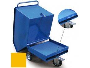 Výklopný vozík na špony, triesky 250 litrov, var.s vrecka, žltá