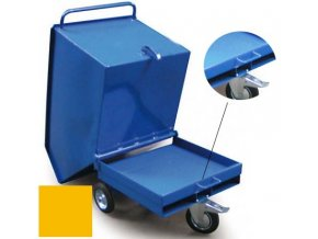 Výklopný vozík na špony, triesky 400 litrov, var.s vrecka, žltý