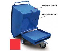 Výklopný vozík na špony, triesky 600 litrov, var.s kohútom, červený