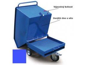 Výklopný vozík na špony, triesky 600 litrov, var.s kohútom, modrý