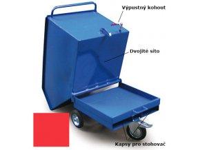 Výklopný vozík na špony, triesky 600 litrov, s kapsami pre vysokozdvižné vozíky, dvojitým dnom, sítom, výpustným kohútom,červený