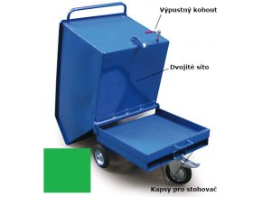 Výklopný vozík na špony, triesky 600 litrov, s kapsami pre vysokozdvižné vozíky, dvojitým dnom, sítom, výpustným kohútom,zelený