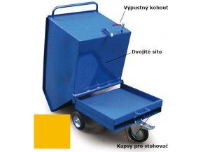 Výklopný vozík na špony, triesky 600 litrov, s kapsami pre vysokozdvižné vozíky, dvojitým dnom, sítom, výpustným kohútom,žltý
