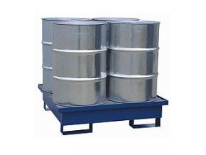 Záchytná vaňa pre 4 sudy, s roštom, 1200x1200x300 mm, lak
