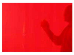 Zváracie záves, transparentný červený, matný, š 1,4 m, v 1,8 až 2,8 m