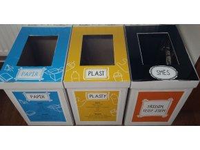 Kartonový eko set košů na třídění, 3 x 35 l - papier, plast, zmes