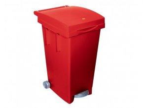 Odpadkový kôš celobarevný, 80 litrů, červený