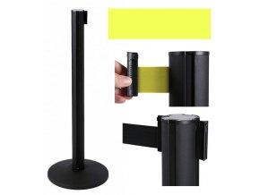 Zahradzovací stĺpik so samonavíjacím pásom, 2,6 m, čierny, žltý