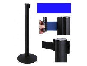 Zahradzovací stĺpik so samonavíjacím pásom, 2,6 m, čierny, modrý