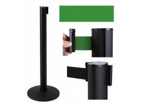 Zahradzovací stĺpik so samonavíjacím pásom, 2,6 m, čierny, zelený