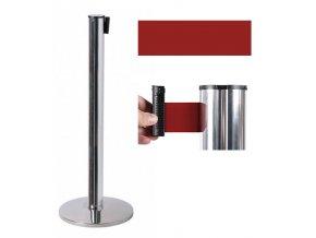 Zahradzovací stĺpik so samonavíjacím pásom, 2,6 m, strieborný, červený