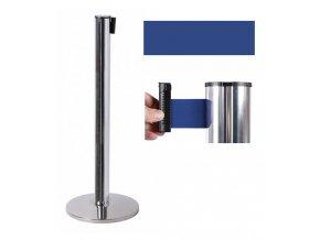 Zahradzovací stĺpik so samonavíjacím pásom, 2,6 m, strieborný, modrý