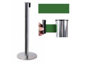 Zahradzovací stĺpik so samonavíjacím pásom, 2,6 m, strieborný, zelený