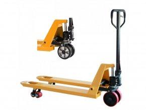 Paletový vozík, gumové riadiace kolesá, 2000 kg