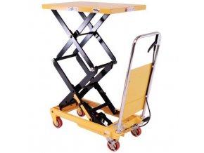 Mobilný hydraulický zdvíhací stôl, do 150 kg, doska 74 x 45 cm, dvojité nožnice