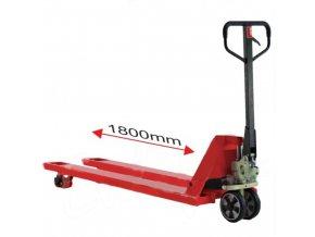 Paletový vozík s dlhými vidlicami, do 2 t, gumová riadiace kolesá