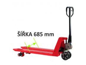 Paletový vozík, široký rozchod, do 2,5 ton, gumová riadiace kolesá