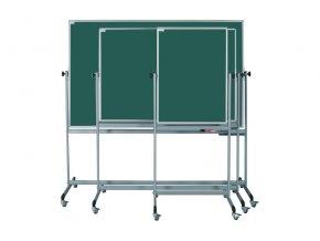 Mobilné otočné zelené magnetické tabule ekoTAB, keramické (pre kriedy)