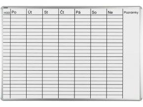 Plánovacia tabuľa ekoTAB týždenná, 100 x 70 cm, lakovaná