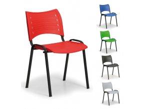 Konferenčná stolička, čierna-plast, Smart