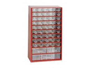 Kovový organizér, 48 zásuviek, červená