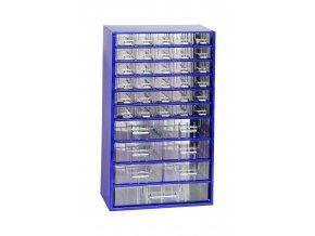 Kovový organizér, 37 zásuviek, modrá