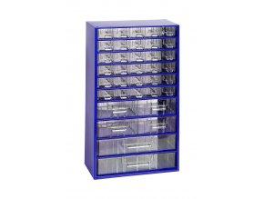 Kovový organizér, 36 zásuviek, modrá