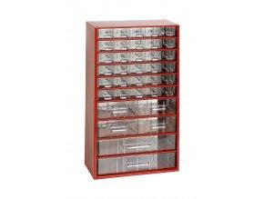 Kovový organizér, 36 zásuviek, červená