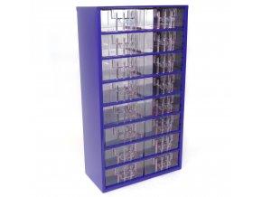 Kovový organizér, 16 zásuviek, modrá