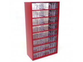 Kovový organizér, 16 zásuviek, červená
