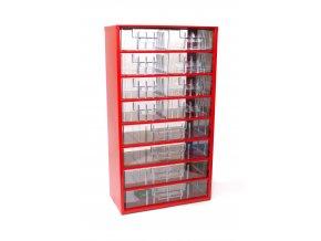 Kovový organizér, 12 zásuviek, červená