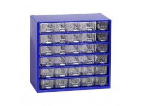 Kovový organizér, 30 zásuviek, modrá