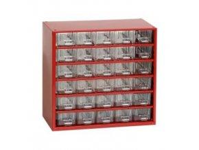 Kovový organizér, 30 zásuviek, červená
