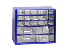 Kovový organizér, 20 zásuviek, modrá