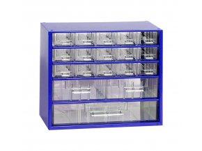 Kovový organizér, 18 zásuviek, modrá