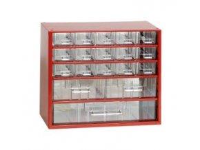 Kovový organizér, 18 zásuviek, červená