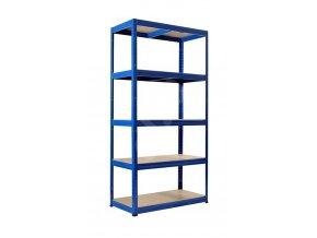Kovový bezskrutkový regál FUTUR PLUS, 180 x 120 x 45 cm, 200 kg / pol., 5 drevotrieskových políc, modrá